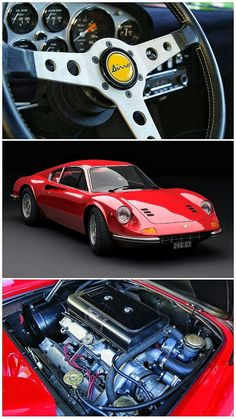 1972 Ferrari Dino 246 - The Ferrari Dino 206 / 246 was the first Ferrari model produced in high numbers. The mid-engine design powered by a L DOHC was lauded for its intrinsic driving qualities, groundbreaking design, and solid performance figures: Top Sports Cars, Exotic Sports Cars, Exotic Cars, Sport Cars, Automobile, Jaguar Xk, Ferrari Car, Lamborghini, Best Classic Cars