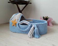 Baby cradle. Moses basket. Bassinet. White | Etsy
