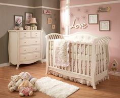 Baby Kinderzimmer Ideen Mädchen rosa graue Wand