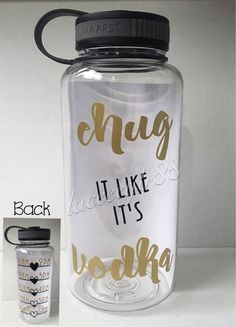 Chug It Like It's Vodka Water Bottle,Chug Life,Water Tracker Bottle,Water Motivation Bottle,Water Ju – Fitness Maxx Vodka, Cute Water Bottles, Funny Water Bottle, Water Bottle Design, Glass Water Bottle, Plastic Bottle, Food Storage Boxes, Diy Tumblers, Cup Design