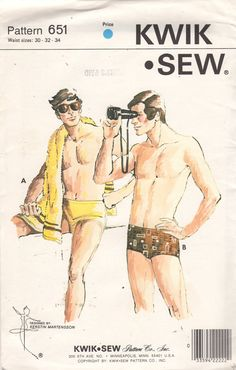 Kwik Sew 651 1970s  Mens Lined Swim Trunks Pattern by mbchills