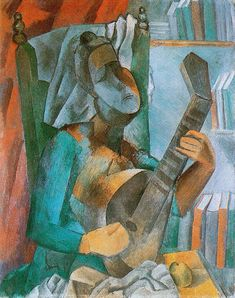 """Woman with a Mandolin"".Artist: Pablo Picasso Completion Date: 1909 Style: Analytical Cubism Period: Cubist Period Genre: genre painting Technique: oil Material: canvas Dimensions: 92 x 73 cm Gallery: Hermitage, St. Kunst Picasso, Art Picasso, Picasso Paintings, Artwork Paintings, Indian Paintings, Abstract Paintings, Landscape Paintings, Georges Braque, Paul Gauguin"