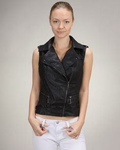 Alexandra says: This vegan leather moto vest is a definite necessity for any dowtown look. I'd wear this piece over a floral dress or over a gypsy-like maxi skirt for an unexpected edgy element. Megan West, Vegan Leather, Vests, Attitude, Gypsy, Cocktail, Feminine, Tunic, Leather Jacket