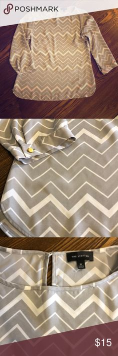 📌FIRM PRICE📌  The Limited Chevron Blouse Grey and white chevron printed blouse. Half sleeves. Keyhole on the back. Scoop neckline. Flowy fit. No flaws. The Limited Tops Blouses