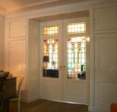 pocket doors with stained glass