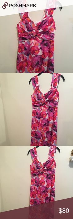 Nanette Leopore silk floral midi dress Pink and white silk ankle length floral print sleeveless. Great condition!!! Nanette Lepore Dresses Midi