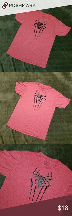 """Men's Spider-Man 2 Heather Red Tshirt L Super soft and comfortable men's tshirt. The Amazing Spider-Man 2 Tshirt with black spider on front. No rips, stains or repairs.  Clean and ready to ship. Sz L Measures 21"""" pit to pit laying flat,  28.5"""" overall length,  19"""" shoulder to shoulder   (5) The Amazing Spider-Man 2 Shirts Tees - Short Sleeve"""