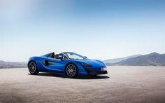 Scarica sfondi McLaren 570S Spider, 2018, auto Sportive, blu 570S, supercar McLaren