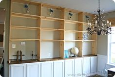 how to DIY built ins shelves http://thriftydecorchick.blogspot.com/2012/08/how-to-build-built-ins.html#