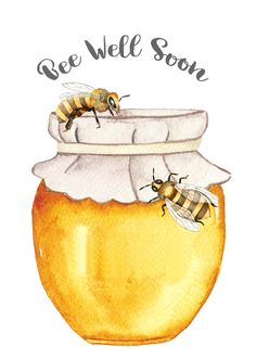 Bee Well Soon - Honey Bee Printable - PLUS click over for two recipes. one for honey throat drops and the other for a honey cough syrup. Love these natural remedies! Bee Drawing, Bee Illustration, I Love Bees, Bee Farm, Bee Crafts, Bee Theme, Bee Happy, Bees Knees, Art Drawings