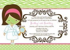 Spa Birthday Party Printable Invitation by AtFirstSightDesign. , via Etsy.