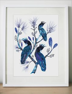 Indigo Cockatoos and Banksia Pines. Large Artist Signed Limited Edition Fine Art Giclée Print. Contemporary Australian botanical birds tree by Floriosa on Etsy https://www.etsy.com/au/listing/252339348/indigo-cockatoos-and-banksia-pines-large