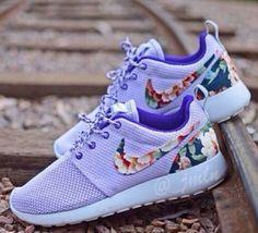 Lavender Nike Roshe Run w/ floral Nike check.