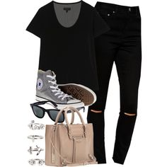 Style #9036 by vany-alvarado on Polyvore featuring polyvore fashion style rag & bone ASOS Converse Balenciaga NLY Trend Ray-Ban