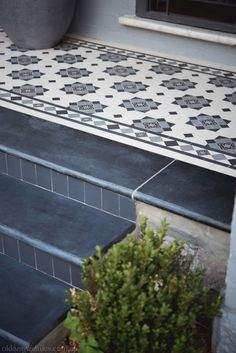 Olde English Tiles – Glasgow pattern with the Norwood borderCharcoal wall tile. - Olde English Tiles – Glasgow pattern with the Norwood borderCharcoal wall tile. Front Porch Steps, Front Stairs, Front Door Porch, Porch Tile, Patio Tiles, Outdoor Tiles, Porch Flooring Tiles, Exterior Wall Tiles, Entry Tile