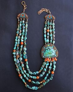 African Turquoise and Orange Agate Necklace