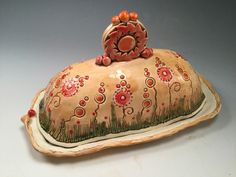 Pottery butter dish/lidded butter dish/orange pottery/serving dish/handmade pottery/pottery butter dish/flowered pottery/ by joycepottery on Etsy