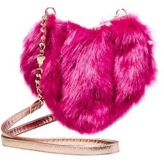 Betsey Johnson Fur Your Eyes Only Heart Crossbody ($88) ❤ liked on Polyvore featuring bags, handbags, shoulder bags, pink, chain strap shoulder bag, crossbody shoulder bag, pink purse, pink shoulder bag and shoulder strap handbags