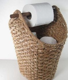Wicker Rope Basket Toilet Paper Holder Rustic Country Style Bathroom Storage - Basket and Crate Country Style Bathrooms, Bad Styling, Toilet Paper Storage, Unique Toilet Paper Holder, Rope Basket, Basket Weaving, Bathroom Styling, Bathroom Ideas, Teal Bathroom Decor