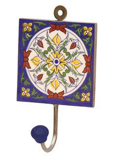 "Arty Effects - #Handmade 6"" #Ceramic #Wall-Hook with #Bright #Flowers on Royal-Blue Base"
