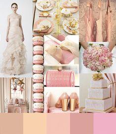A composição dourado & rosa no casamento.
