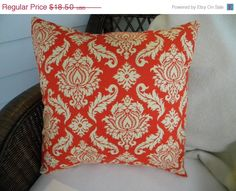 HOME DECOR SALE Decorative Pillower Cover- Joel Dewberry Aviary 2 - Damask - Saffron fits 18 Inch Square Pillow on Etsy, $15.73