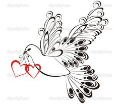 Flying dove with hearts.