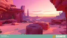 Our Tutorial map for Gigantic. I setdressed this level from a greybox layout with mostly preexisting assets. I sculpted a few of the rocks used in this scene and textured the rest of them. The vista was painted by Matt Barret and setup by me with some small tweaks to fit the lighting better.