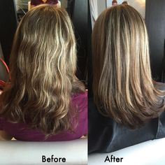 Amazing effects of the Brazilian Blowout (the original). After the treatment was finished BB smoothing serum was used and the hair was blowdried very quickly with a large round brush. No irons used.  Help your frizz go away for the holidays by contacting KellGrace Salon to get this treatment done! Salon@KellGrace.com
