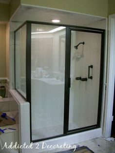 Painting Shower Frame  http://www.addicted2decorating.com/d-i-y-project-how-to-paint-a-bathroom-faucet-shower-enclosure.html