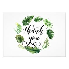 #Watercolor Tropical Leaves Wreath Thank You Card - #weddinginvitations #wedding #invitations #party #card #cards #invitation #watercolor