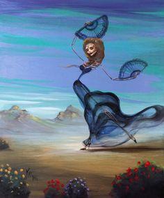 "Day of the Dead Dia de Los Muertos Original Painting Art Flamenco Dancer Desert Fan by Award Winning Artist Kat Tatz 18""x16"" on Wood Panel"