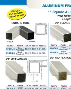 "Aluminum Tubing & Connector Framing System 1"" Square Tubing - Outwater"