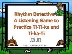This private eye themed game is for practicing the rhythmic concepts of ti-ti-ka (one eighth and two sixteenths) and ti-ka-ti (two sixteenths and one eighth).   Each of the 12 game pages comes with an embedded sound file for the students to identify the correct rhythm pattern. Each page contains three rhythm patterns in 4/4 time signature and are two bars in length.