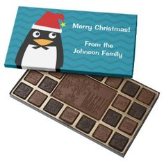 Happy Penguin with Santa Hat 45 Piece Assorted Chocolate Box