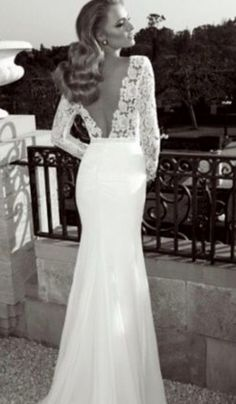 Sexy Open-back Lace Wedding Dress with Long Sleeves for Victoria | Tulle & Chantilly