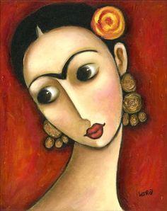 Wendy Ryan Folk Art:  Romantic Frida Kahlo with a rose