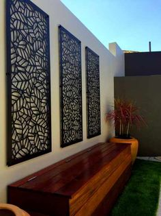 28 ideas of modern garden fence designs for summer ideas 1 Diy Pergola, Building A Pergola, Modern Pergola, Pergola Screens, Pergola Ideas, Modern Fence, Privacy Screens, Garden Wall Designs, Garden Wall Art
