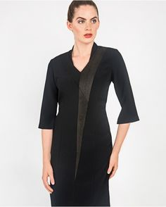 Black dress with black salmon fish leather panel