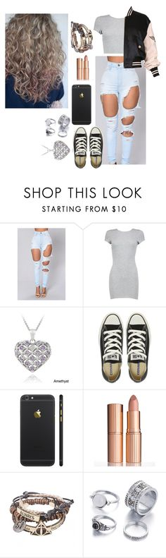 """""""Untitled #1458"""" by girlie-kendrick ❤ liked on Polyvore featuring Boohoo, Glitzy Rocks, Converse, Charlotte Tilbury and Moschino"""