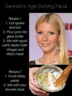 Get Gwyneth's age-defying facial at home! Two easy recipes that use ingredients straight from the supermarket.   http://www.popsu.gr/30570613