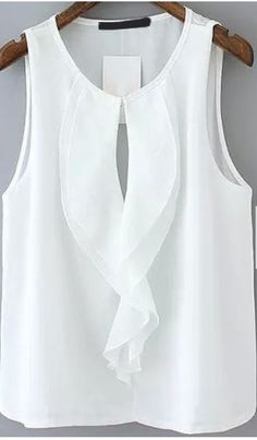 Ruffle Hollow Chiffon White Tank TopFor Women-romwe - my siteShop [good_name] at ROMWE, discover more fashion styles online. Would also be nice painted on silk:caramel and white:. Blouse Styles, Blouse Designs, Hijab Styles, Boho Bluse, Boyfriend Girlfriend Shirts, Mode Bcbg, Chiffon Ruffle, T Shirt Yarn, Cut Shirts