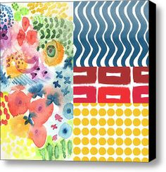 Bold Boho Patchwork- Abstract Art Stretched Canvas Print / Canvas Art By Linda Woods