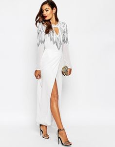 ASOS RED CARPET All Over Embellished Leaf Placement Maxi Dress