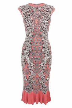 Alexander McQueen Coral Barnacle Pencil Dress, $1,950, available at Alexander McQueen.