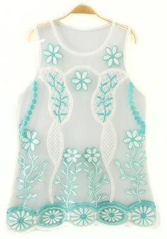 Green Floral Embroidery Sleeveless T-Shirt