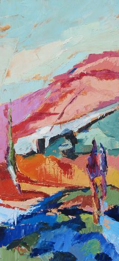 Contemporary Modern Abstract Landscape Original Oil Painting by Marissa Vogl