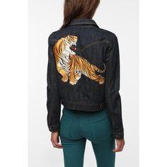 BDG Tiger Embroidered Denim Jacket
