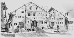 Guarda - Schellen Ursli Weg Watercolor Illustration, Watercolour, Louvre, Building, Travel, Art, Vacations, Summer, Kunst