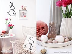 "DIY easter decoration with JUNIQE print ""Graphic 3"" http://www.juniqe.com/print-unframed-1x1-200458.html and cushion cover ""Origami Hase"" http://www.juniqe.com/origami-hase-juniqe-cushions-jc01.html"